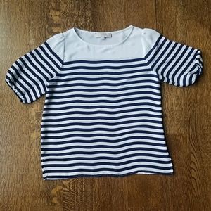 Loft Petite Navy and White Striped Blouse